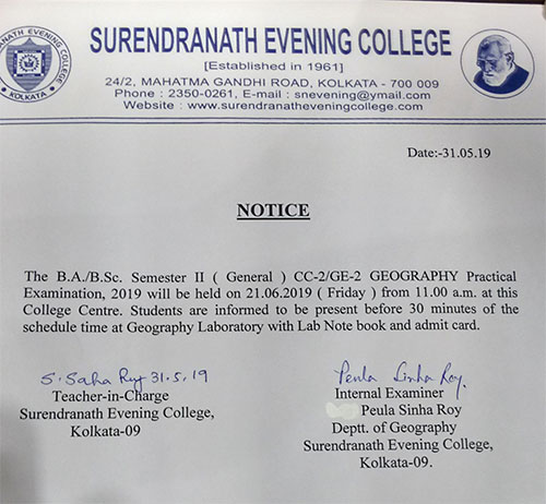 BA/ BSc Semester II General Geography Practical Examination